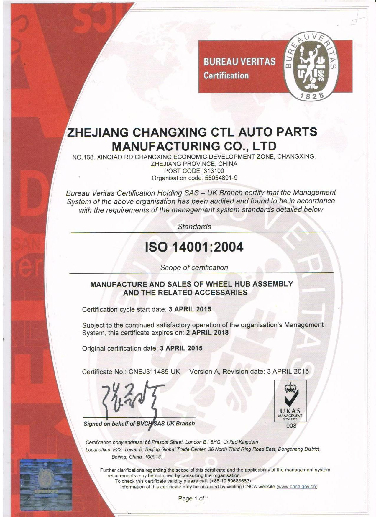 Certificate And Honor Ctl Autoparts Manufactring